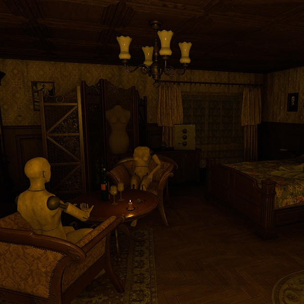 House of Fear VR experience mannequins sitting on chairs in a bedroom