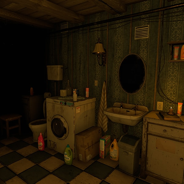 House of Fear VR experience a toilet and washroom