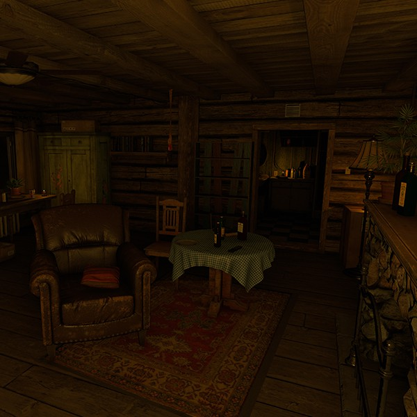 House of Fear VR experience living room in a cabin