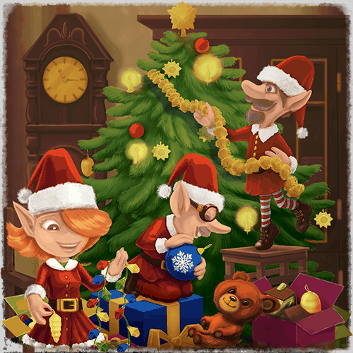 Christmas VR experience elves decorating a tree