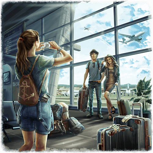 Survival VR experience a couple getting a photo at the airport