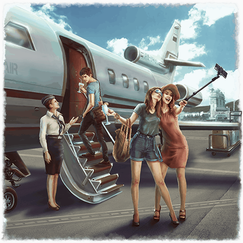 Survival VR experience two women taking a selfie before boarding a plane