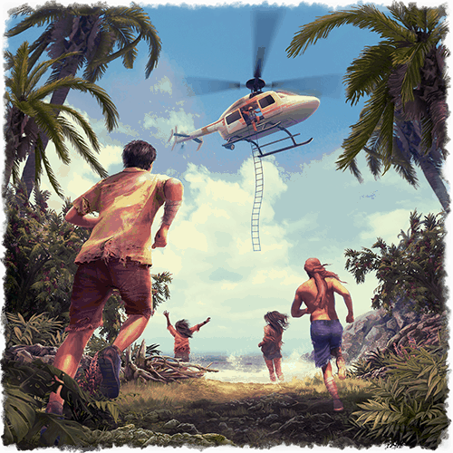 Survival VR experience a group of people getting rescued by a helicopter
