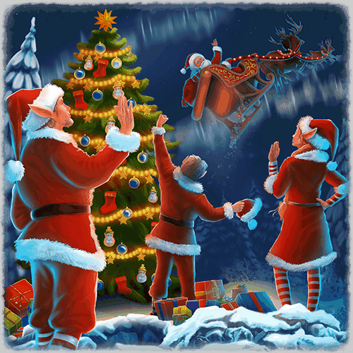 Christmas VR experience santas helpers waving him off