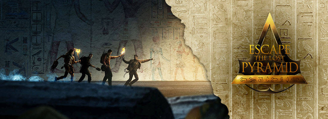 Assassins Creed Escape the Lost Pyramid VR experience a group of people running through a tomb